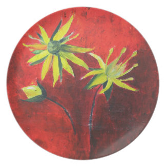 Yellow Flowers Red Beautiful Floral Melamine Plate