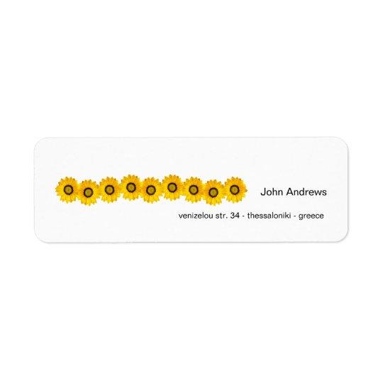 yellow flowers return address label
