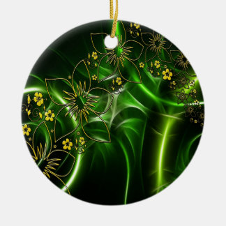 Yellow flowers shimmering green fractals round ceramic ornament