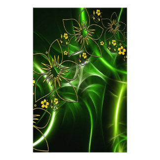 Yellow flowers shimmering green fractals stationery paper