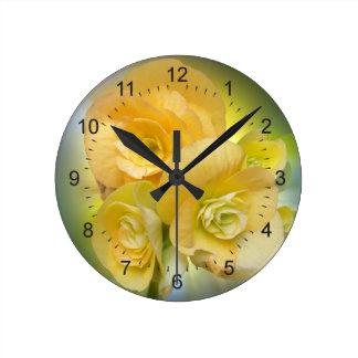 yellow flowers shining round clock