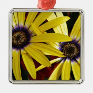 Yellow Flowers Silver-Colored Square Ornament