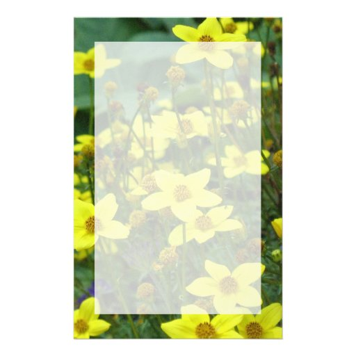 yellow flowers customized stationery