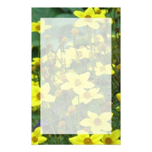 yellow flowers customized stationery