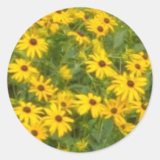 Yellow Flowers Round Sticker