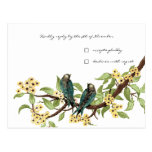 Yellow Flowers Teal Vintage Birds Response Card Post Cards