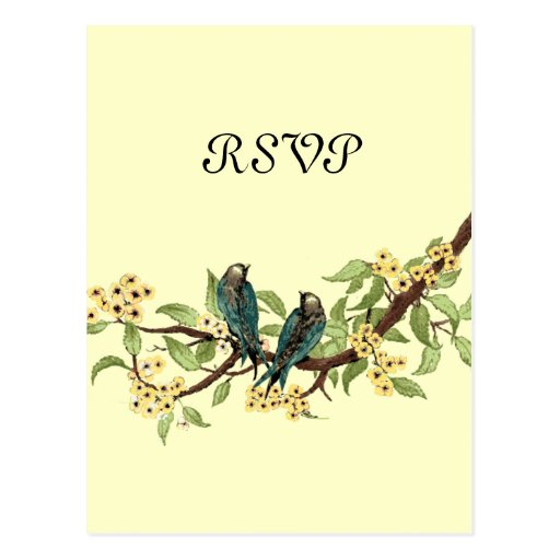 Yellow Flowers Teal Vintage Birds Response Card Postcard