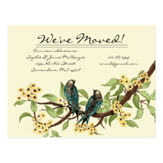 Yellow Flowers Teal Vintage Birds We Have Moved Post Card