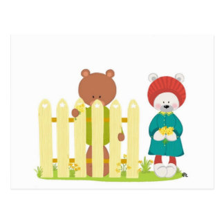 Yellow Flowers/ The Bear Family Postcard