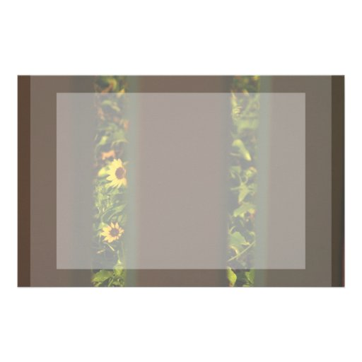 Yellow flowers through wide brown fence customized stationery