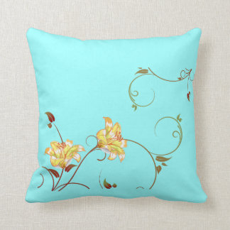 Yellow Flowers,Turquoise Throw Pillow