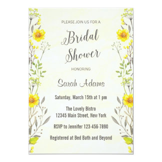 Yellow Flowers Watercolor Bridal Shower Invitation