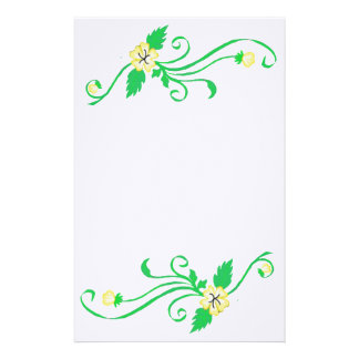 Yellow Flowers with Green Vine Stationary Stationery Paper