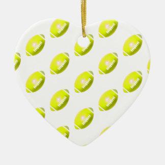 Yellow Football Pattern Ceramic Heart Ornament