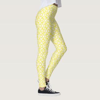 Yellow Four Hearts Flower Bordered Pattern Leggings