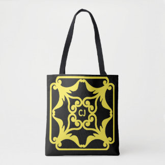Yellow Four Hearts Flower Bordered Pattern Tote Bag