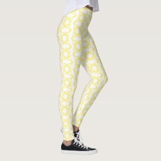 Yellow Four Hearts Flower Pattern Leggings
