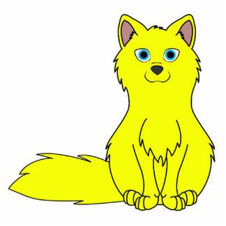 Yellow Fox Sitting Photo Sculpture Button