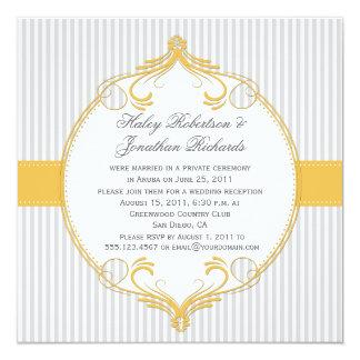 Yellow Frame Grey White Stripes Wedding Card