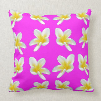 Yellow Frangipani Flowers On Pink Backgrrond, Throw Pillow