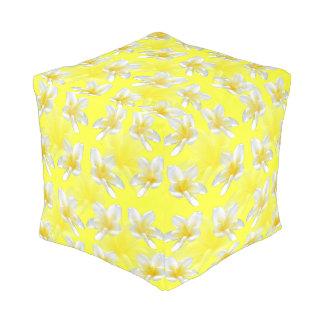 Yellow Frangipani Passion, Full Print Cube Pouffe. Pouf