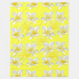 Yellow Frangipani Passion, Large Fleece Blanket