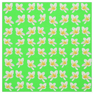 Yellow Frangipanis On Green  Cotton Material Fabric