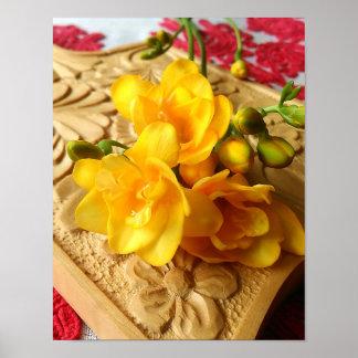 Yellow Freesia Bouquet Poster