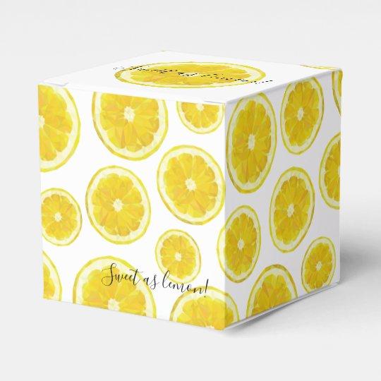 Yellow fresh lemon slice gift favour box