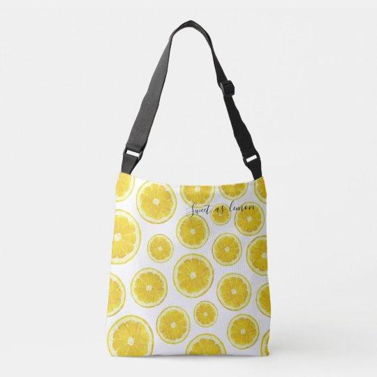 Yellow fresh lemon slice in modern design bag