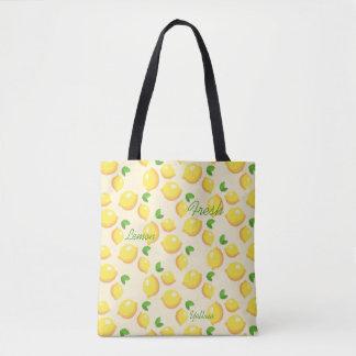 Yellow fresh lemons , summer tote bag