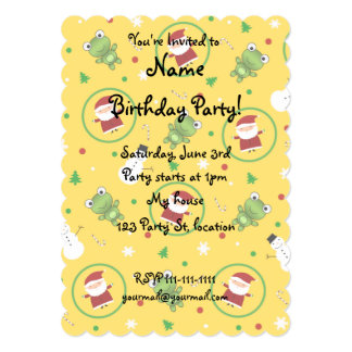 Yellow frogs santa claus snowmen 5x7 paper invitation card