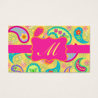 Yellow Fuchsia Pink Modern Paisley Monogram Business Card