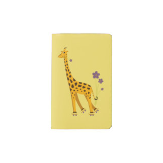 Yellow Funny Roller Skating Giraffe Pocket Moleskine Notebook