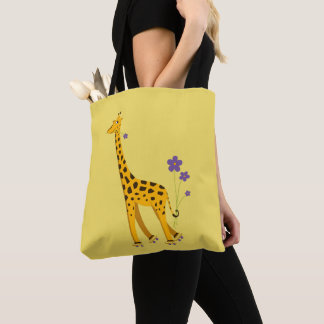 Yellow Funny Roller Skating Giraffe Tote Bag