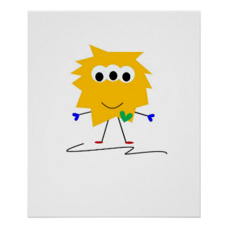 Yellow Fuzzy Monster Poster