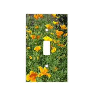 Yellow garden flowers light switch cover