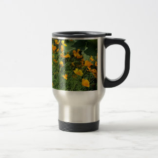 Yellow garden flowers travel mug