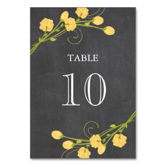 Yellow garden roses chalkboard table number card table cards