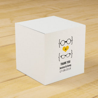 Yellow Geeky Glasses Wedding Favor Boxes