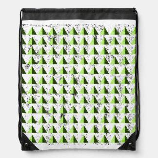 Yellow Geometric Distressed Pattern Drawstring Bag