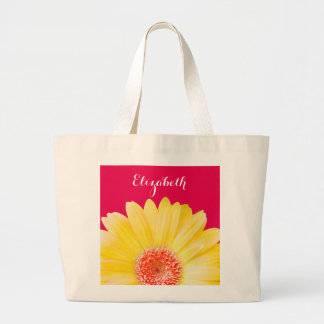 Yellow Gerber Daisy on Dark Pink Personalized Large Tote Bag
