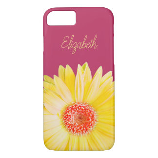 Yellow Gerber Daisy Photo on Pink iPhone 8/7 Case