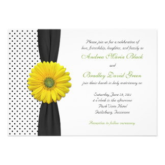 Yellow Gerber Daisy Polka Dot Wedding Invitation