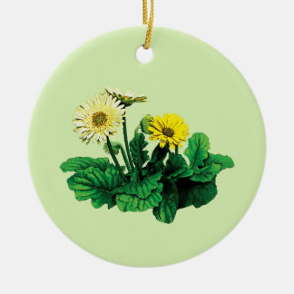 Yellow Gerbera Daisies Ceramic Ornament