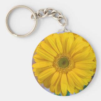 Yellow Gerbera Daisy Basic Round Button Keychain