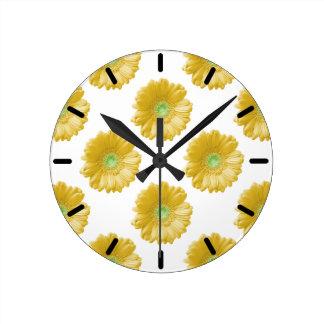 Yellow gerbera daisy clock