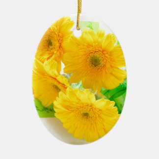 yellow Gerbera flowers Ceramic Ornament