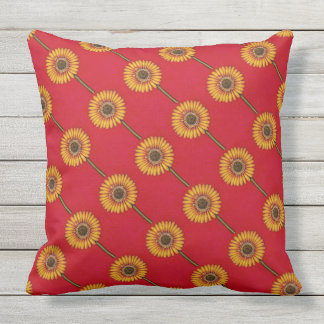 Yellow Gerbera on Red Outdoor Pillow
