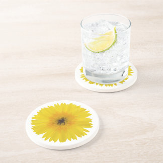 Yellow Gerbera Sandstone Drink Coaster
